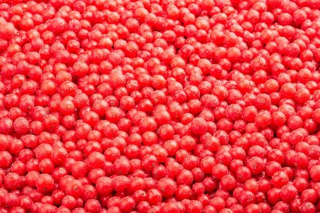 Widok z góry mrożonych świeżych czerwonych porzeczek.