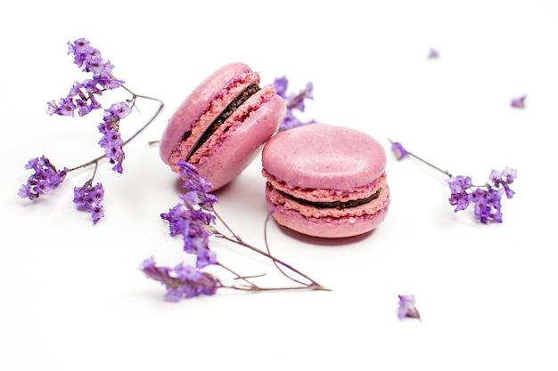 Widok z góry na apetyczne ciasteczka makaroniki różowe (fioletowe) i kwiaty na białym tle.