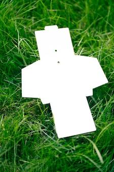 Widok z góry na białe puste pudełko rozłożone na akcesoria lub metki odzieżowe na zielonej trawie w lecie, z miejsca na kopię.