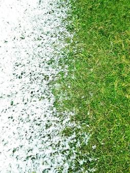 Widok z góry na biały śnieg na zielonej trawie trawnikowej. sezony zimowe i letnie