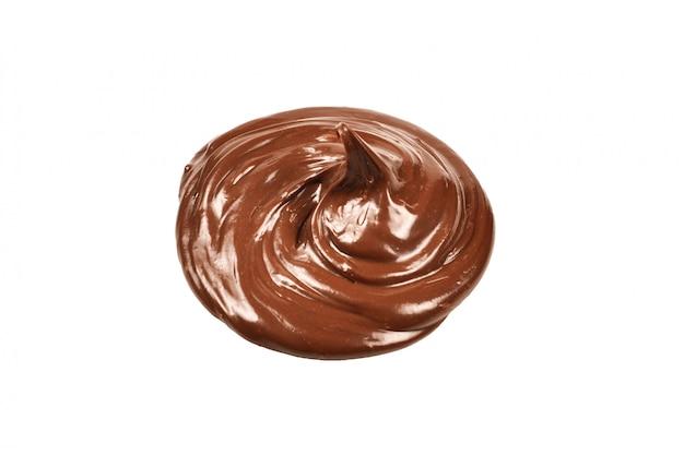 Widok z góry na białym tle krem czekoladowy