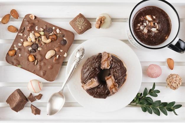 Widok z góry na czekoladę