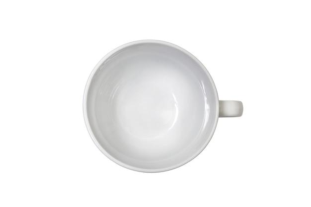 Widok z góry na czysty biały duży kubek na herbatę na białym tle z miejscem na tekst