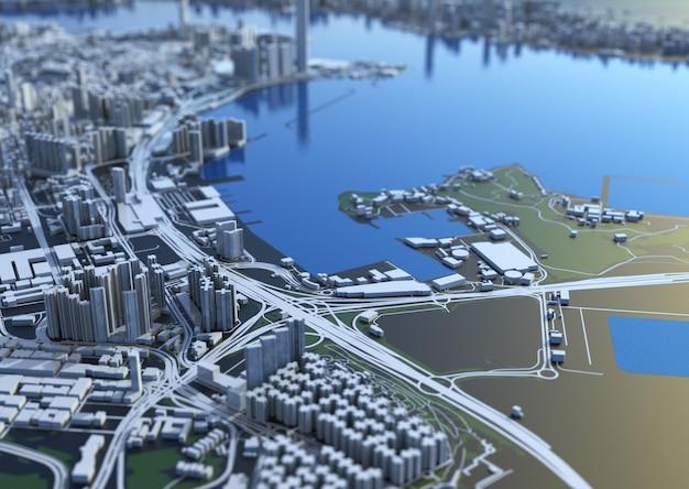 Widok z góry na duże miasto. ilustracja w swobodnym projektowaniu graficznym. fragment hongkong