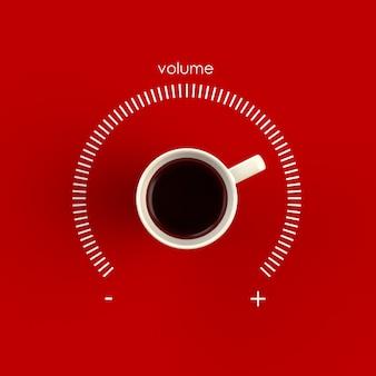 Widok z góry na filiżankę kawy w formie kontroli głośności na białym tle na czerwonym tle