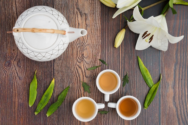 Widok z góry na filiżankę kawy z roślinami