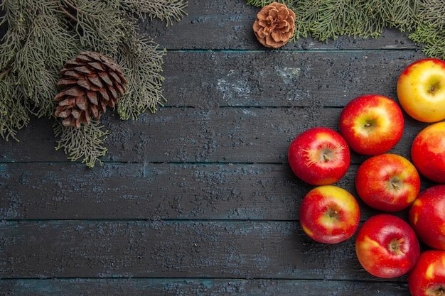 Widok z góry na gałęzie i jabłka, wiele jabłek po prawej i gałęzie drzew z szyszkami po lewej