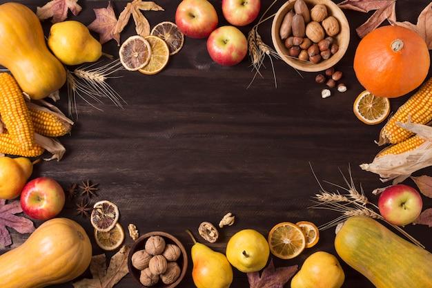 Widok z góry na jesień okrągłe ramki żywności