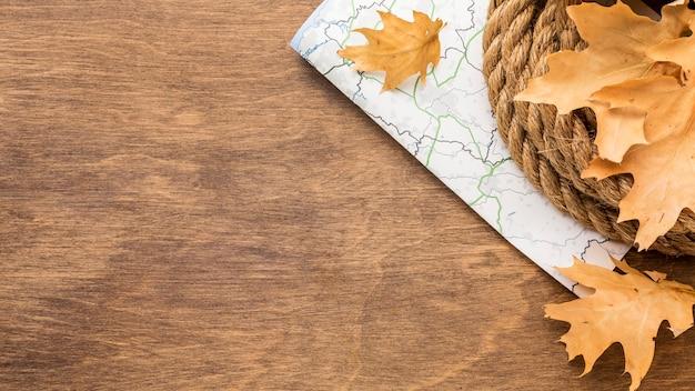 Widok z góry na jesienne liście z miejsca na liny i kopię