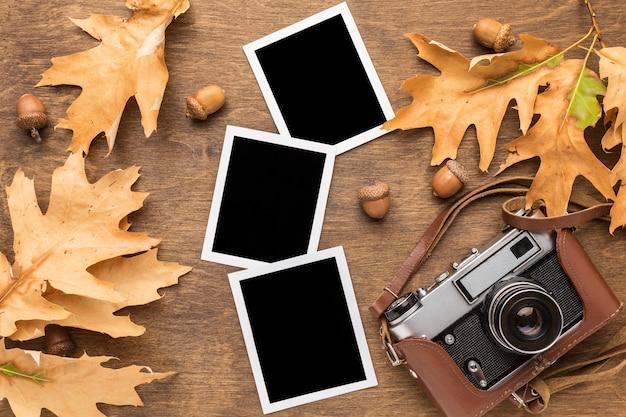 Widok z góry na jesienne liście ze zdjęciami i aparatem