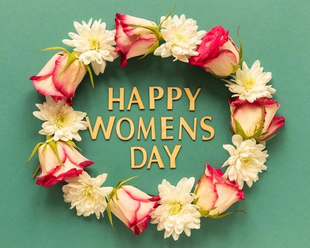 Widok z góry na koronę kwiatów na dzień kobiet