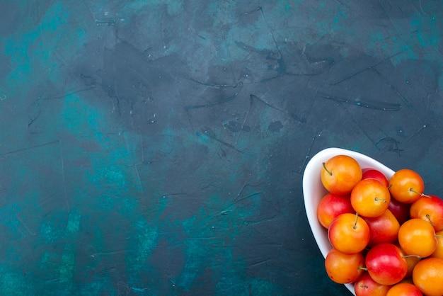 Widok z góry na kwaśne śliwki wewnątrz talerza na ciemnoniebieskiej powierzchni