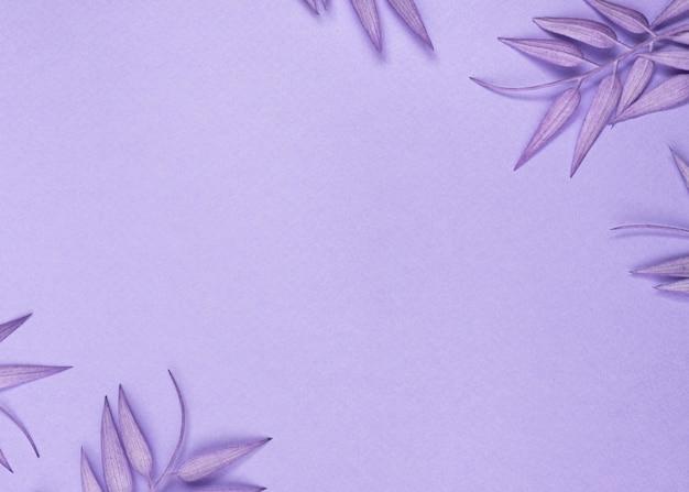 Widok z góry na monochromatyczne liście z przestrzenią do kopiowania
