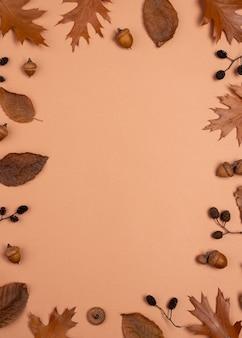 Widok z góry na monochromatyczny asortyment liści z miejscem na kopię
