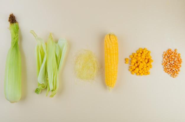 Widok z góry na niegotowane gotowane ziarna kukurydzy z gotowanymi i suszonymi ziarnami kukurydzy i łuskami kukurydzy z jedwabiem kukurydzianym na białym tle