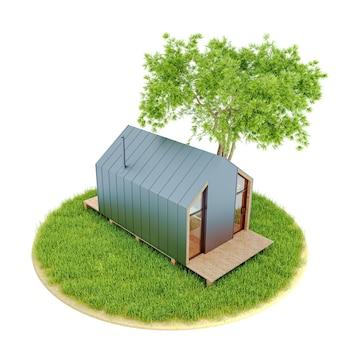 Widok z góry na nowoczesny mały drewniany domek w stodole w stylu skandynawskim na wyspie z zielonym trawnikiem i jodłami. ilustracja 3d na białym tle jest izolowana