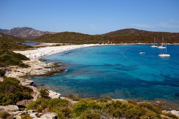 Widok z góry na piękną przyrodę wyspy korsyka, francja, tło krajobraz morski. widok poziomy.