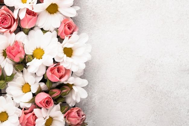 Widok z góry na pięknie kolorowe kwiaty z miejscem na kopię