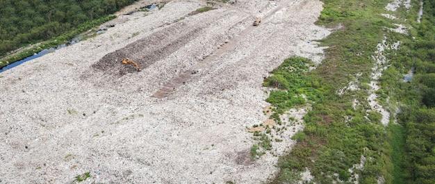 Widok z góry na plastik i inne odpady przemysłowe katastrofa ekologiczna z góry śmieci globalne ocieplenie i ścieki obszarowe, widok z lotu ptaka wysypisko śmieci odpady ogromne wysypisko problem zanieczyszczenia środowiska