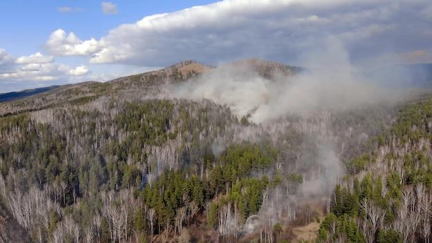 Widok z góry na pożar, który wybuchł w lesie