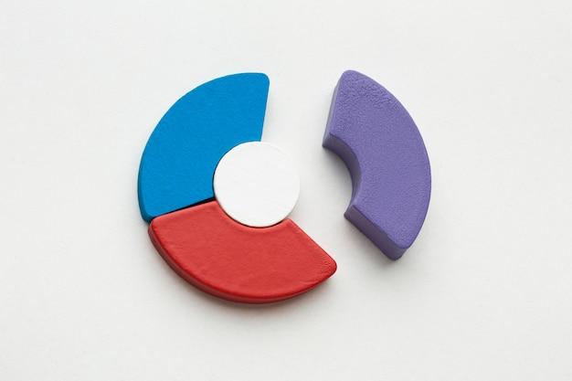 Widok z góry na prezentację statystyk z wykresem kołowym