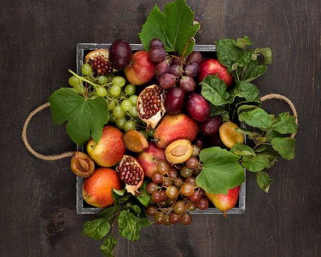 Widok z góry na pyszne jesienne owoce