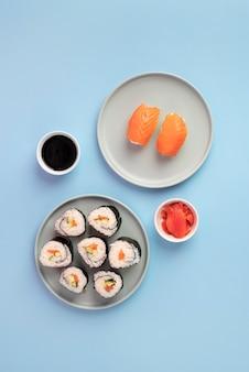 Widok z góry na pyszne sushi