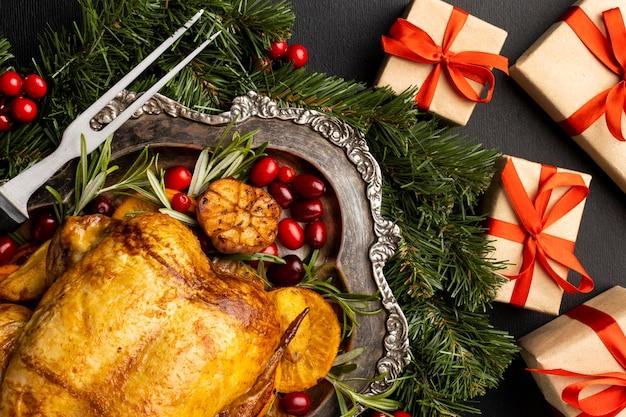 Widok z góry na pyszne świąteczne danie