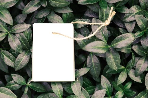 Widok z góry na rzemieślnicze brązowe składane pudełko z liną jutową na akcesoria lub metkę na ubrania na tle...