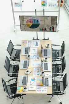 Widok z góry na salę konferencyjną w biurze firmy pełnym laptopów na biurku z czarnymi krzesłami i monitorem z dużym ekranem i szklaną tablicą z dokumentami papierowymi.