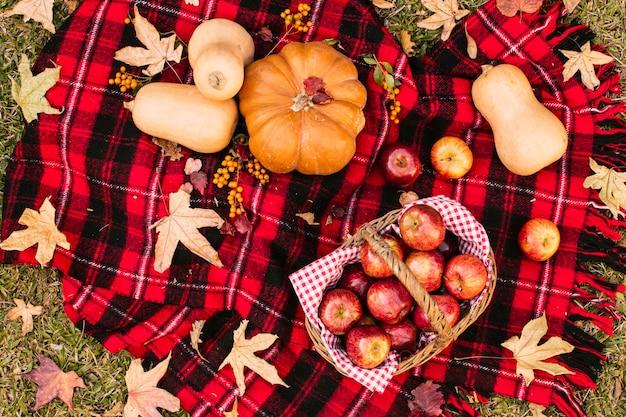 Widok z góry na sezon jesienny posiłek na kocu piknikowym