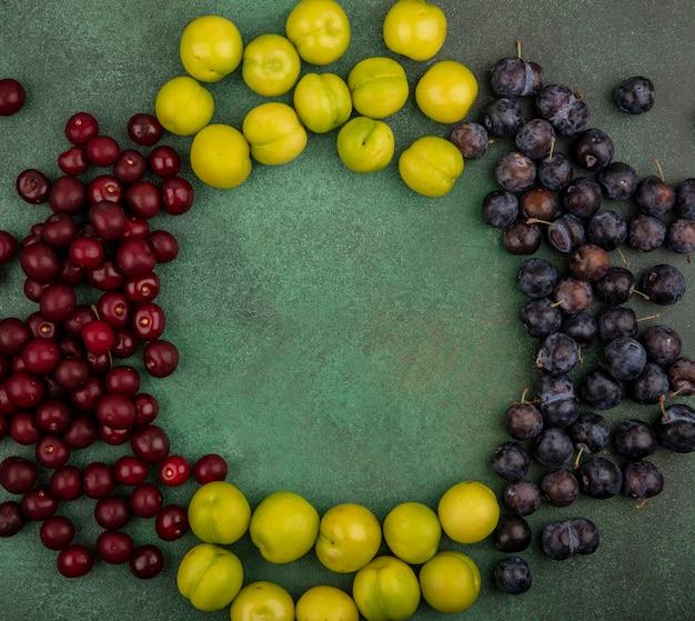 Widok z góry na świeże owoce, takie jak czerwone wiśnie, zielone śliwki wiśniowe i ciemnofioletowe tarniny na zielonym tle z miejscem na kopię