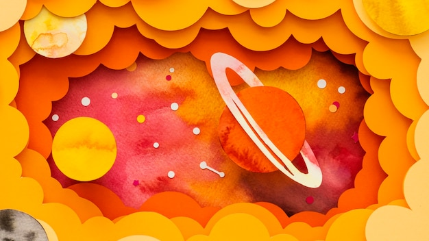 Widok z góry na układ kreatywnych planet papierowych