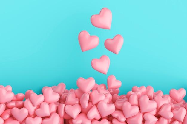 Widok z góry na wiele różowych serc