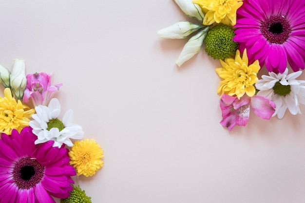 Widok z góry na wspaniałą kompozycję kwiatów