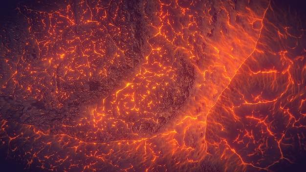 Widok z góry na wulkan lawy w tle
