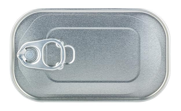 Widok z góry na zamkniętą prostokątną puszkę na białym tle. wytnij obraz opakowania produktu bez cienia i odbicia