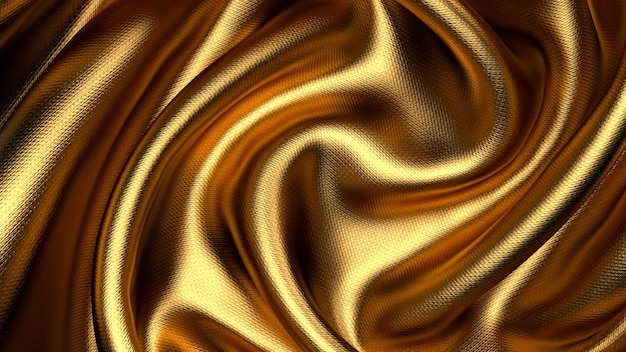 Widok z góry na złotą skręconą tkaninę