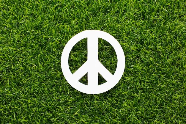 Widok z góry na znak pokoju na trawie