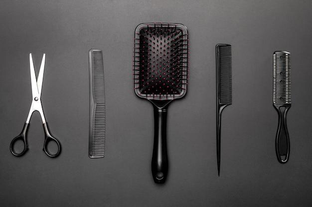 Widok z góry narzędzi fryzjerskich