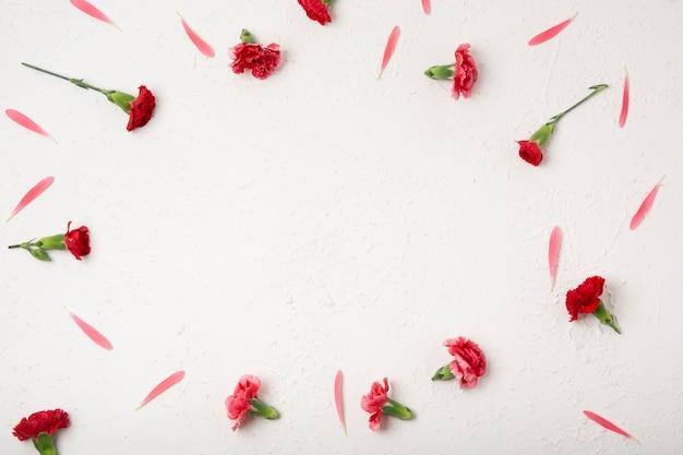 Widok z góry naturalną ramkę z kwiatów goździków