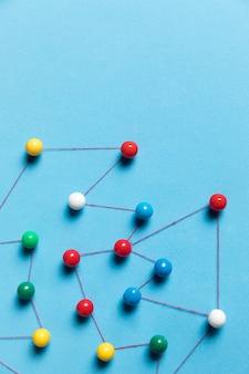 Widok z góry niebieska mapa pinezki