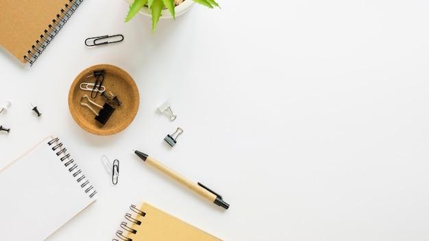 Widok z góry notebooków z artykułami biurowymi i rośliną