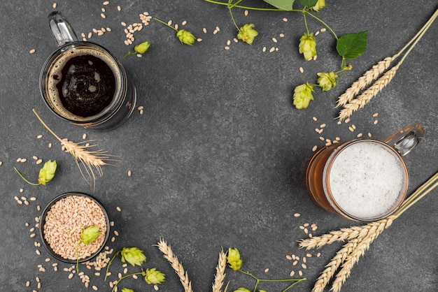 Widok z góry okrągła rama z piwem