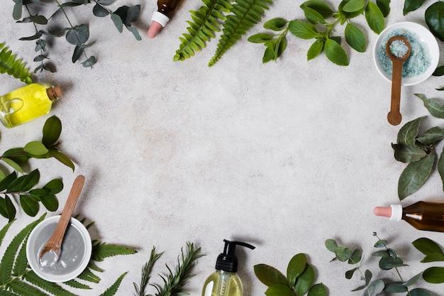 Widok z góry olejki i ramka z naturalnych liści