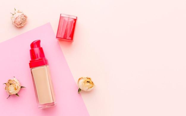 Widok z góry organiczna szminka z miejsca na kopię
