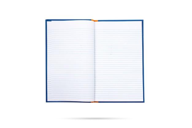 Widok z góry otwarta książka na białym tle
