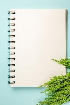 Widok z góry otwartego notatnika na niebieskiej powierzchni
