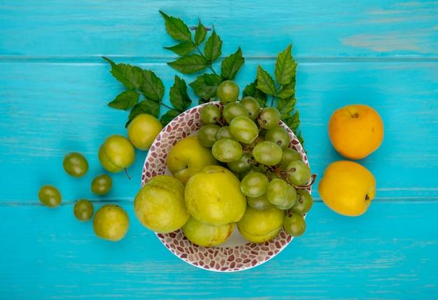 Widok z góry owoców jako winogron i zielonych śliwek w misce ze śliwkami, nektakotami i liśćmi na niebieskim tle