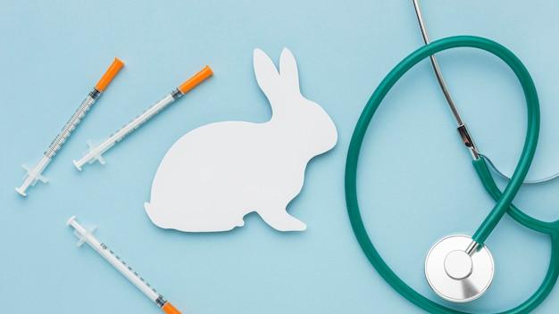 Widok z góry papierowego królika ze stetoskopem i strzykawkami na dzień zwierząt